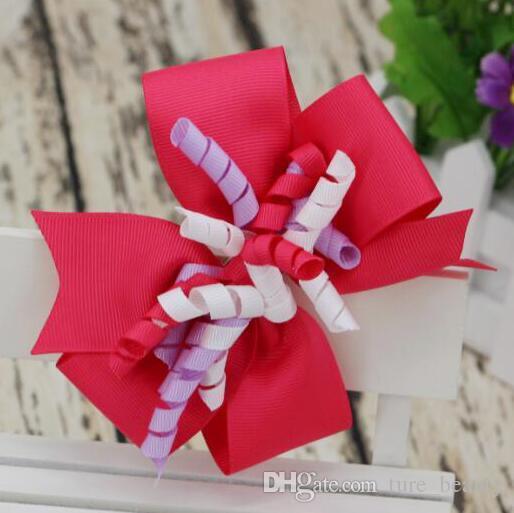 5 pulgadas en capas Korker Bow Bow Girl Bood Clip Clip Streamer Líder Líder Accesorios para el cabello de los niños /