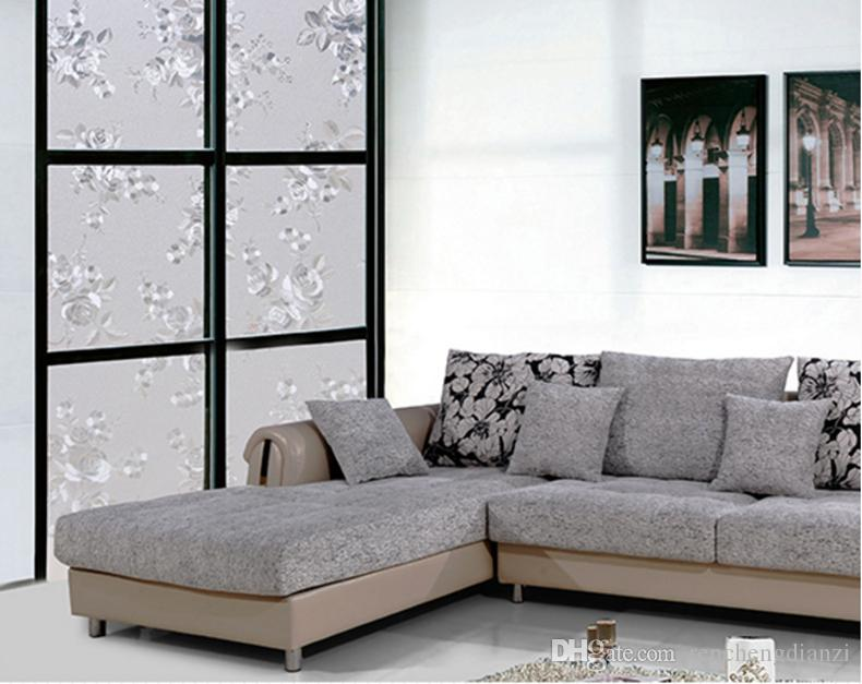 Modern Pvc Electrostatic Film Flower Frosted Design Opaque Home Store Restaurant Glass Door Window Protective Film Decorative Stickers