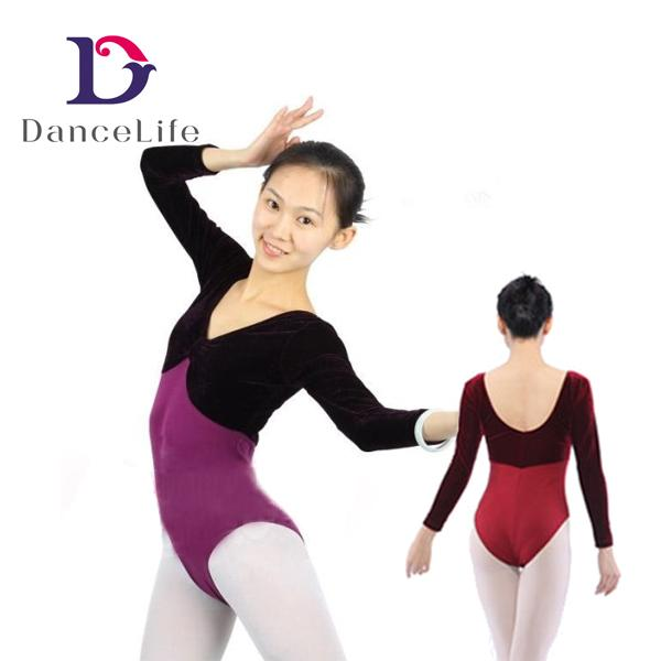 fe920dde4 A2024 Featured Velvet Long Sleeves Rhymic Gymnastics Leotards Long ...