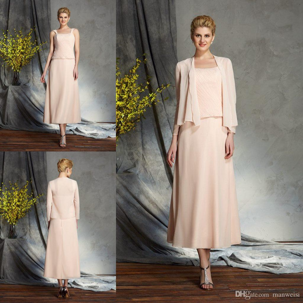 54d23912301 Cheap Blush Pink Mother Of The Bride Dresses For Weddings With Jacket Tea  Length Evening Gowns Plus Size Mothers Guest Dress Bride Mother Dresses By  ...