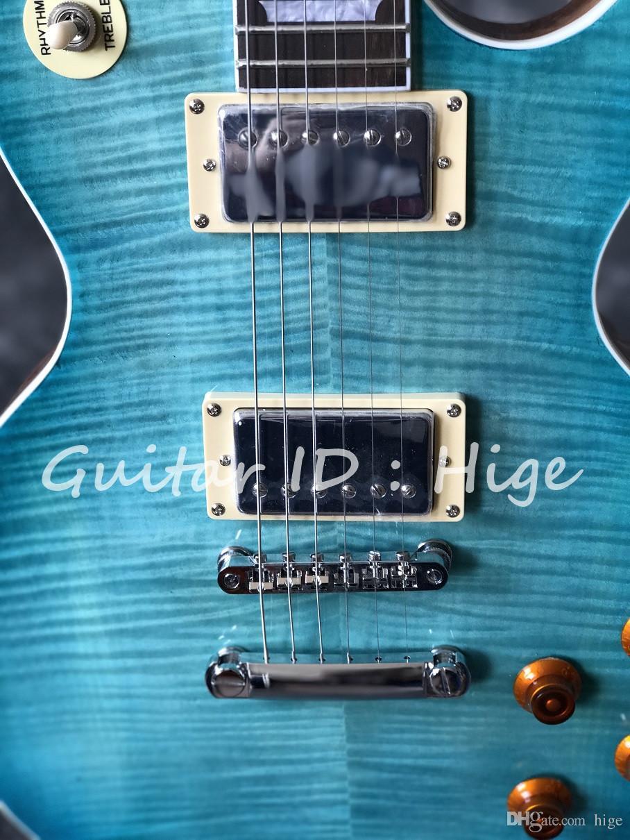 Chitarra elettrica standard di vendita calda di nuovo arrivo con la cima blu dell'acero della fiamma, parte posteriore naturale di mogano, tutto il colore è disponibile
