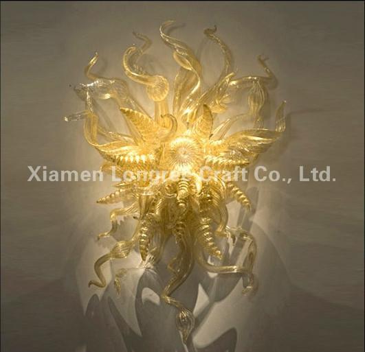 Modern Custom Made Blown Glass Wall Art Decorative Murano Glass LED Light Source Wall Lamp for Hotel Decoration