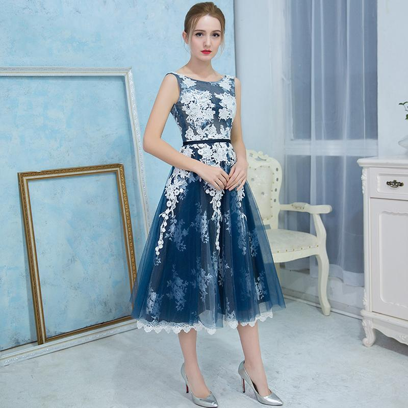 7e7395e6d4695 Tea Length Prom Dresses Navy Blue Lace And Tulle 2018 A Line Sheer Backless  Illusion Special Occasion Party Gowns For Girls Gigi Prom Dresses Make Your  Own ...