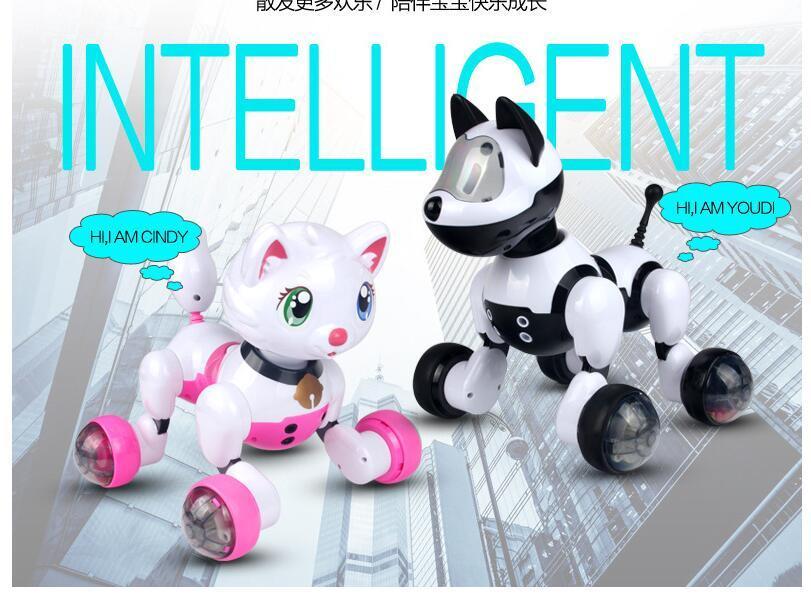 EMS Youdi Voice Control Dog Cat Smart Robot Electronic Dog Cat Voice  Control Pet Program Dance Walk Robotic Pets Voice Control Dog Toy