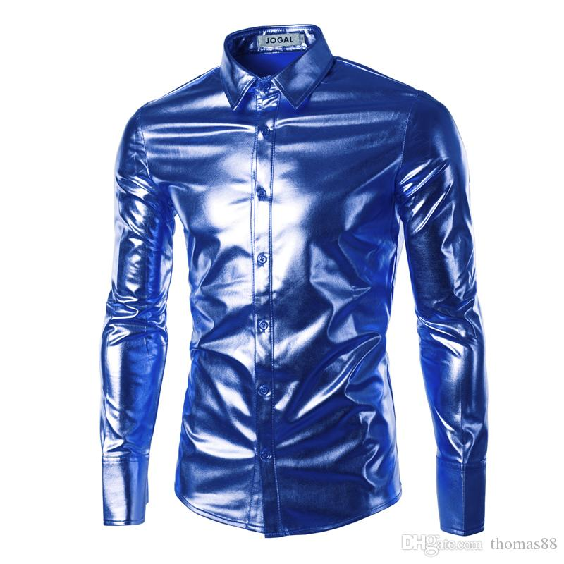 Wholesale-Mens Trend Night Club Coated Metallic Gold Silver Button Down Shirts Stylish Shiny Long Sleeves Dress Shirts For Men