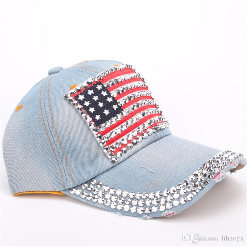 حار بيع الولايات المتحدة الأمريكية الولايات المتحدة الأمريكية العلم الأميركي قبعات البيسبول قابل للتعديل الجينز الدينيم حجر الراين الرجال النساء snapback قبعة قبعة M002