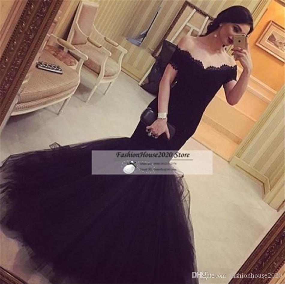 Sexy Long little Black Off The Shoulder Mermaid Prom Dresses 2017 Corset Lace Prom Party Dress Celebrity Formal Evening Gowns
