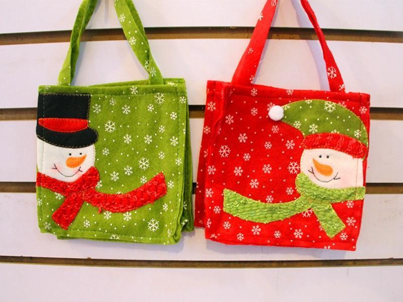 / Expédition rapide 16 * 16 cm Santa Claus bonhomme de neige poignée sac sac cadeau de Noël décoration sacs