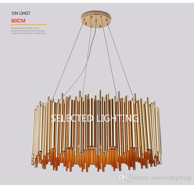 Modern Modern Gold Wisiorek Lights Salon Restauracja Studium LED G9 Rura żarówki Aluminium Żyrandol Art Osobowość Projekt Wisiorek Lampa