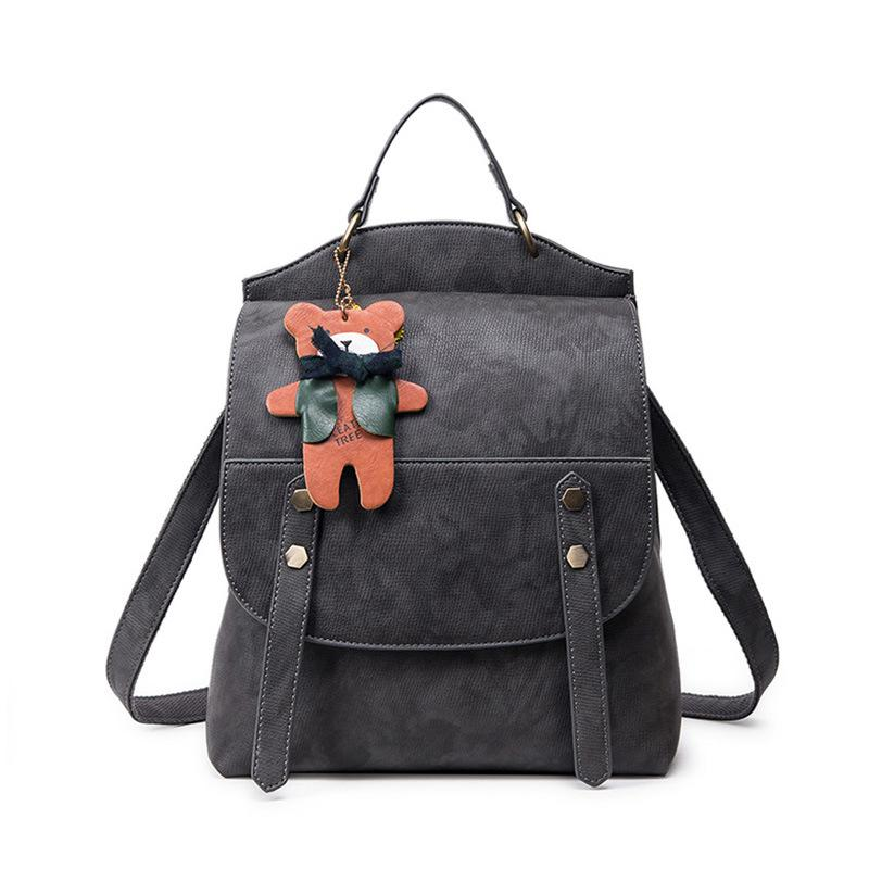 2017 Women Backpack Vintage Backpacks For Teenage Girls Casual Shoulder Bag High Quality Pu Leather Rucksack Cute Bear Mochila Boys