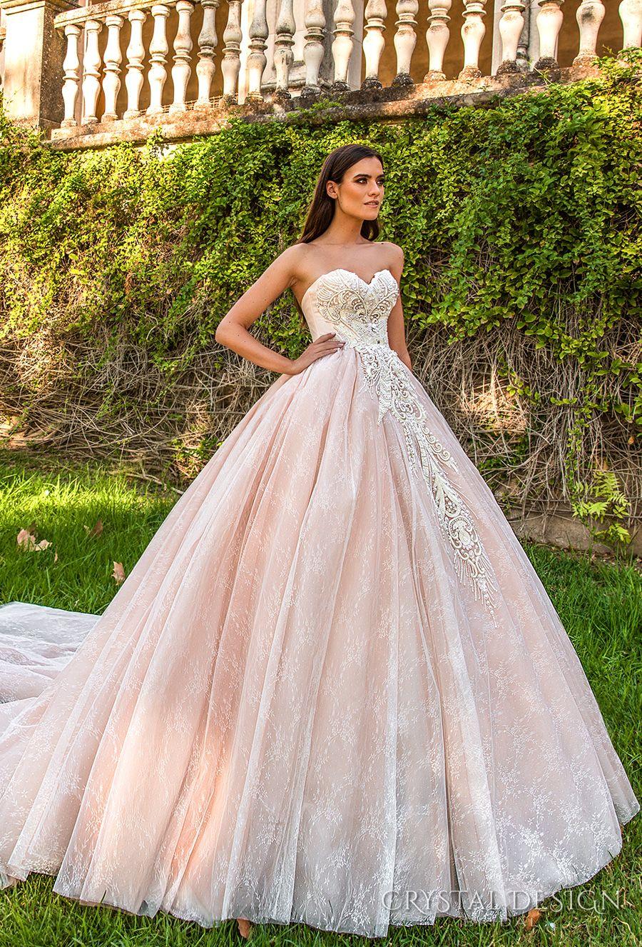 Pink Princess Royal Train Wedding Dresses 2017 Crystal Design ...