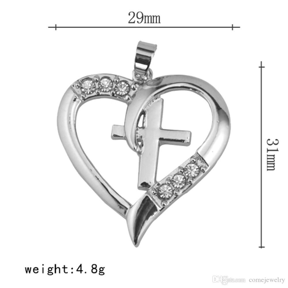 Fashion Cute Simple Silver Plated Heart Shape cross Medical Clear Crystal Embedded Necklace Pendant for Women Teen Girls