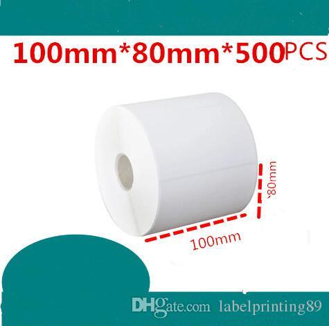 100 * 80mm / rouleau NOUVEAU Étiquettes blanches blanches de papier à barres d'autocollant de papier auto-adhésif enduit de papier