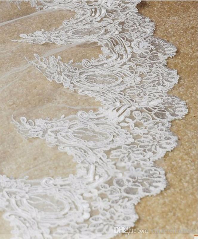 Vendita calda Bianco / Avorio Applique Tulle 3 metri Lungo velo da sposa con pettine Accessori da sposa Pizzo Velo da sposa veu de noiva CPA068