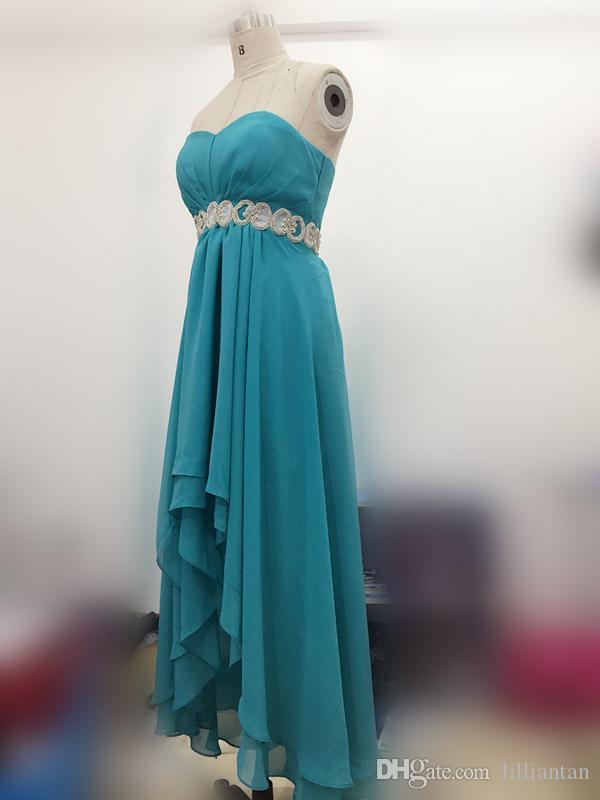 Image réelle Chaud Pays Western Haute basse demoiselle d'honneur Turquoise Robes de soirée Hi-Lo Aqua Blue Mousseline de château Robes Crystal Sash