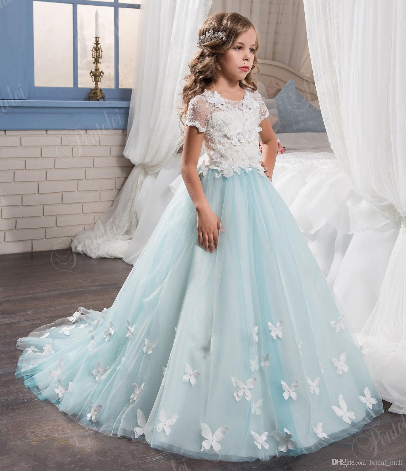 Cute Short Sleeves Blue Flower Girl Dresses With Butterfly Lace ...