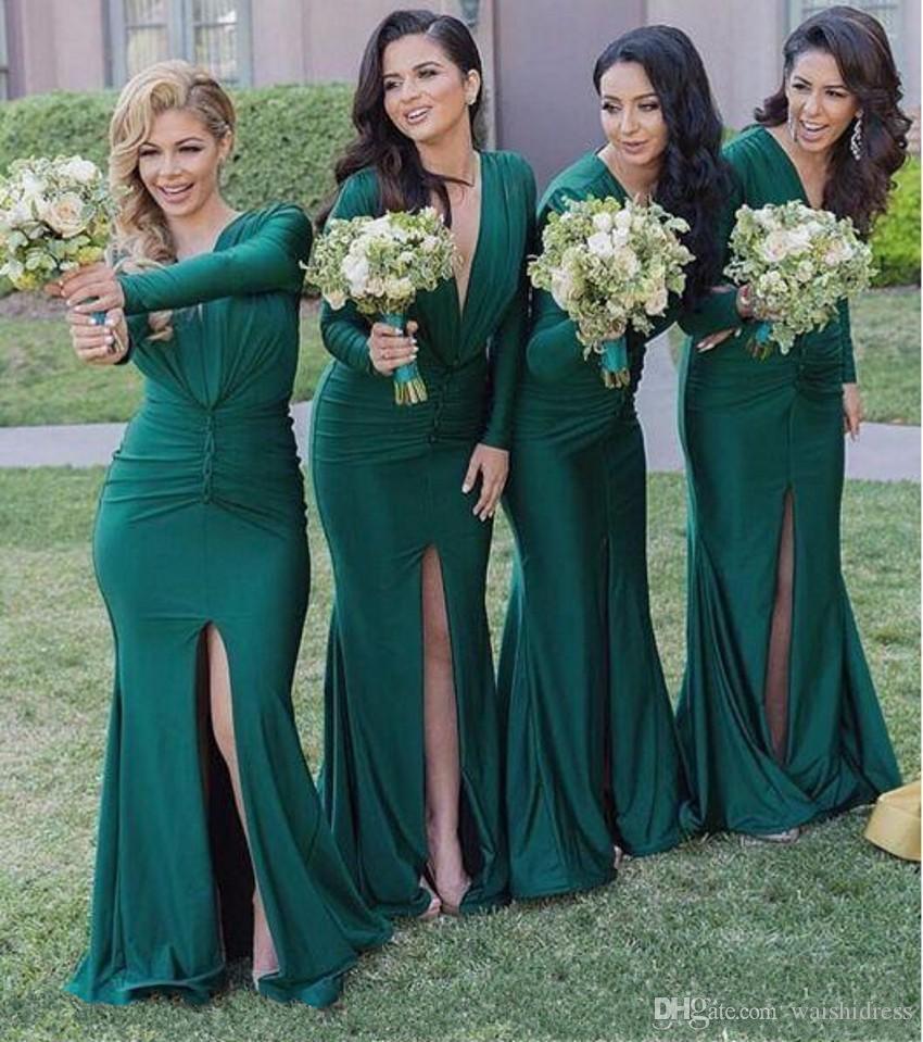 Custom Made Green Slit Mermaid Brautjungfer Kleider Tief V-Ausschnitt Lange Ärmel Sweep Zug Maid of Ehre Hochzeit Guest Gowns Plus Größe