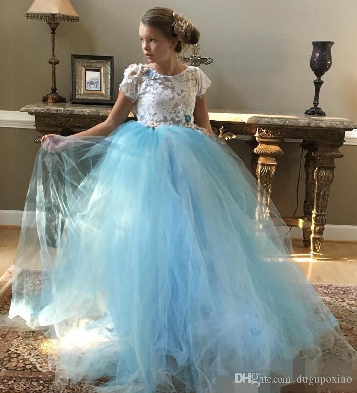 2017 Toddler Sky Blue Tulle Flower Girl Dresses for Weddings Puffy Tutu Vintage Lace Formal First Communion Dress Cupcake Prom Party Gowns