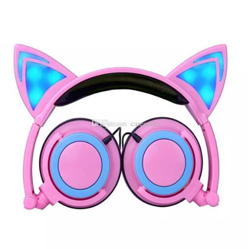 2017 cat ear headphone Foldable flashing glowing Headsets with LED light for apple iphone 7 plus 6S plus MP3 Cell phone Earphones