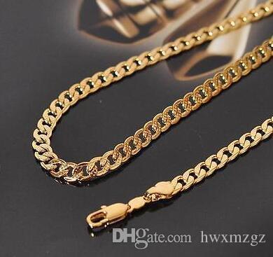 Feine Frauen 18K gelbes Gold füllte Geschnitzte Punkt Halskette Curb Chain Link 19.6