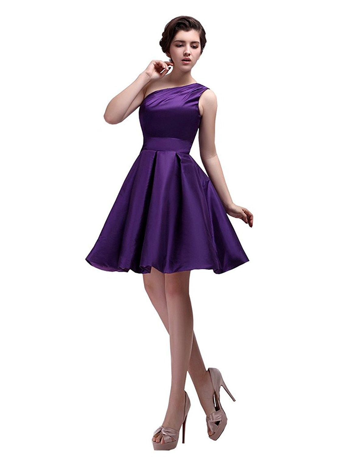 Gowedding Satin Purple Knee Length Junior Bridesmaid Short A Line ...