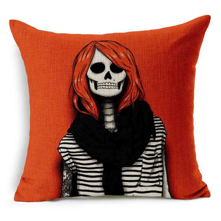 New Christmas Festival Red Skull Cushion Cover for Car Pillow Case Cotton Linen Fashion Square Skull Pillow Cover Bedroom Sofa Decoration