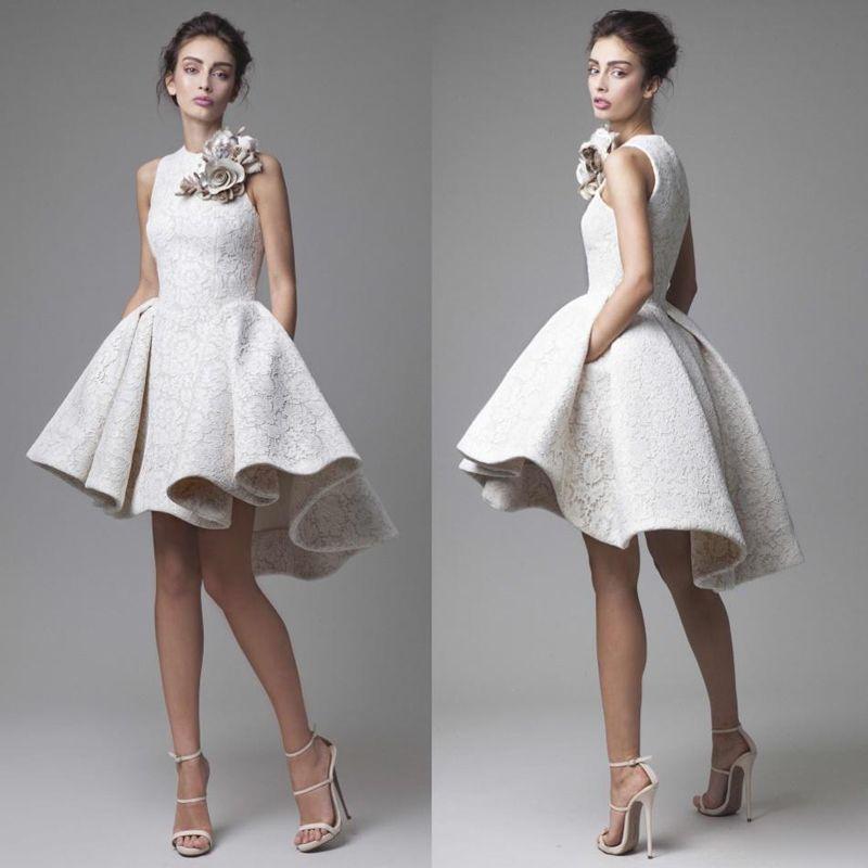 2017 Lace Wedding Dresses Krikor Jabotian Jewel Sleeveless High Low Wedding Dresses Short A-Line Beach Bridal Gowns With Flower