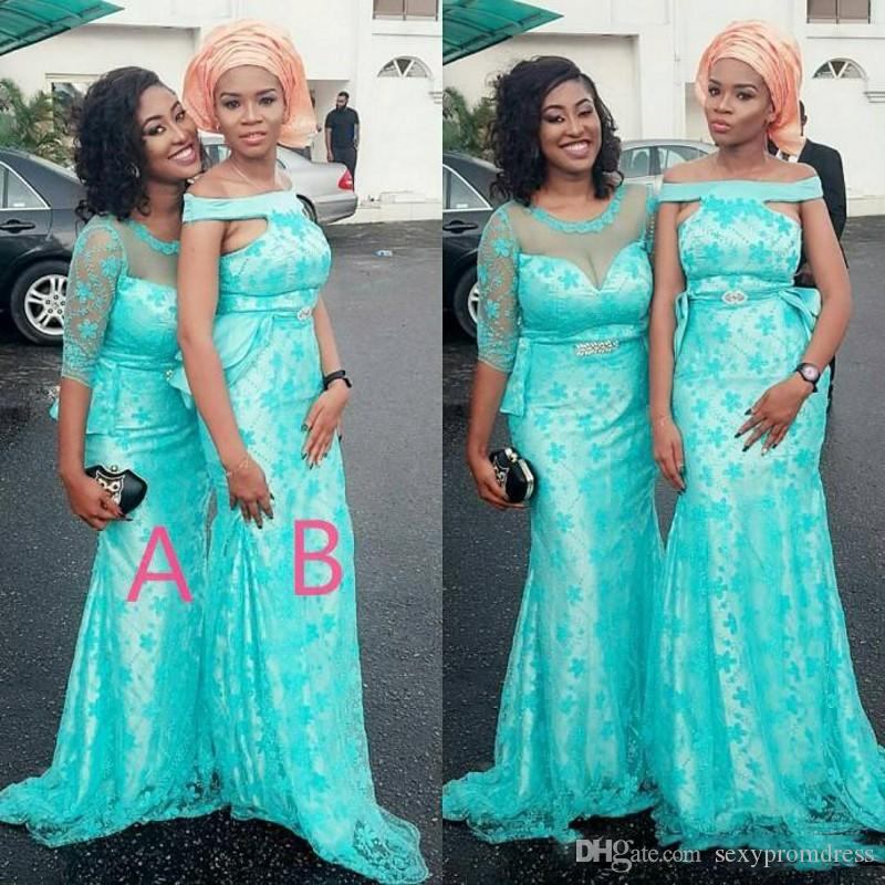 Turquoise Two Styles Arabic Bridesmaid Dresses For Wedding Lace ...