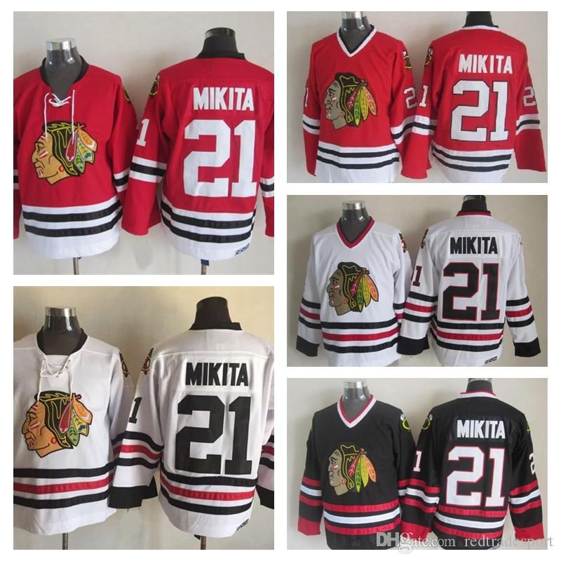 2019 Old Time Chicago Blackhawks Hockey Jerseys Mens  21 Stan Mikita Home  Red White Vintage Stan Mikita 75th Anniversary Black Stitched Jersey From  ... 6e0c41cca85