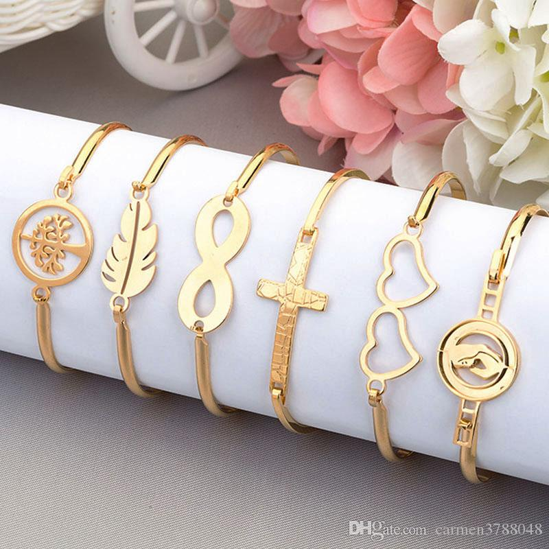 59038deb6d8ab8 2019 18k Gold Plated Stainless Steel Infinity Bracelets Bangle For Women  Love Heart Life Tree Anchor Infinity Charm Bracelet From Carmen3788048, ...