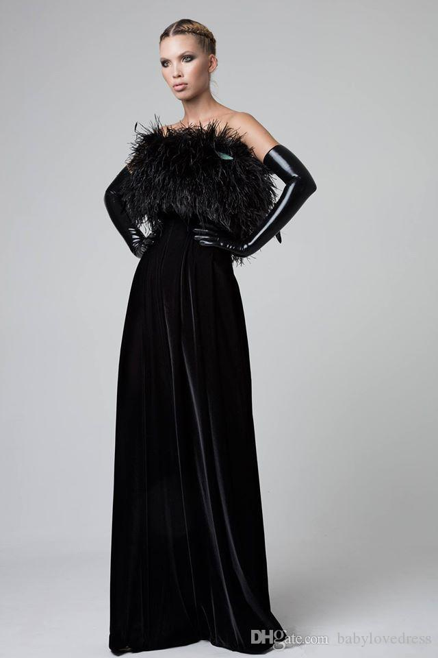 Modest Black Velvet Long Floor Formal Evening Dresses With Feathers Strapless 2018 New Prom Party Gowns