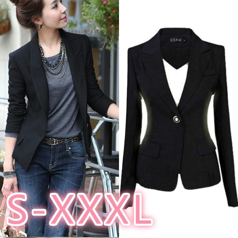 1d89ee7ff85c8 2019 New Fashion S 3XL Women Blazer Jacket Suit Casual Black Coat Jacket  Single Button Outerwear Woman Blaser Feminino Female From Jerrymeng, ...
