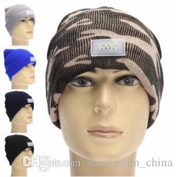 21 Colors Winter Warm LED Light Beanies Hat Sports Beanie Knitted Cap Hunting Camping Running Hat Unisex Beanies Cap CCA5199 100pcs