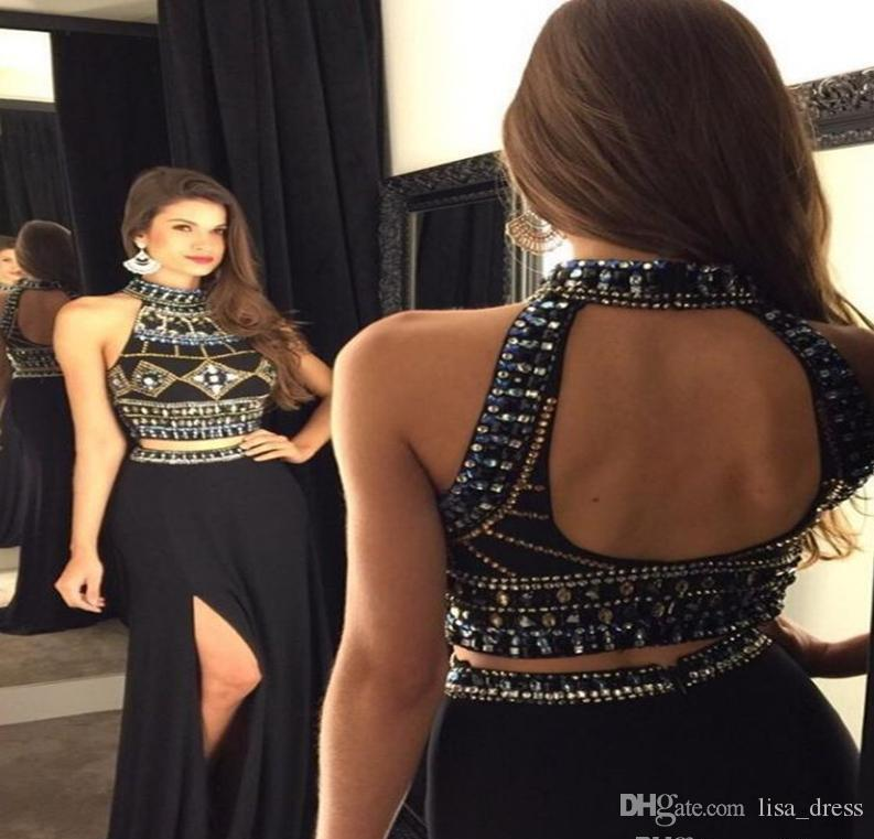 07ed467ed8 .2017 Ladies Evening Dresses Black Long Chiffon Mermaid Beads Crystal Two  Pieces Prom Gowns Sexy Slit Backless Party Dresses Evening Gown Designer  Evening ...