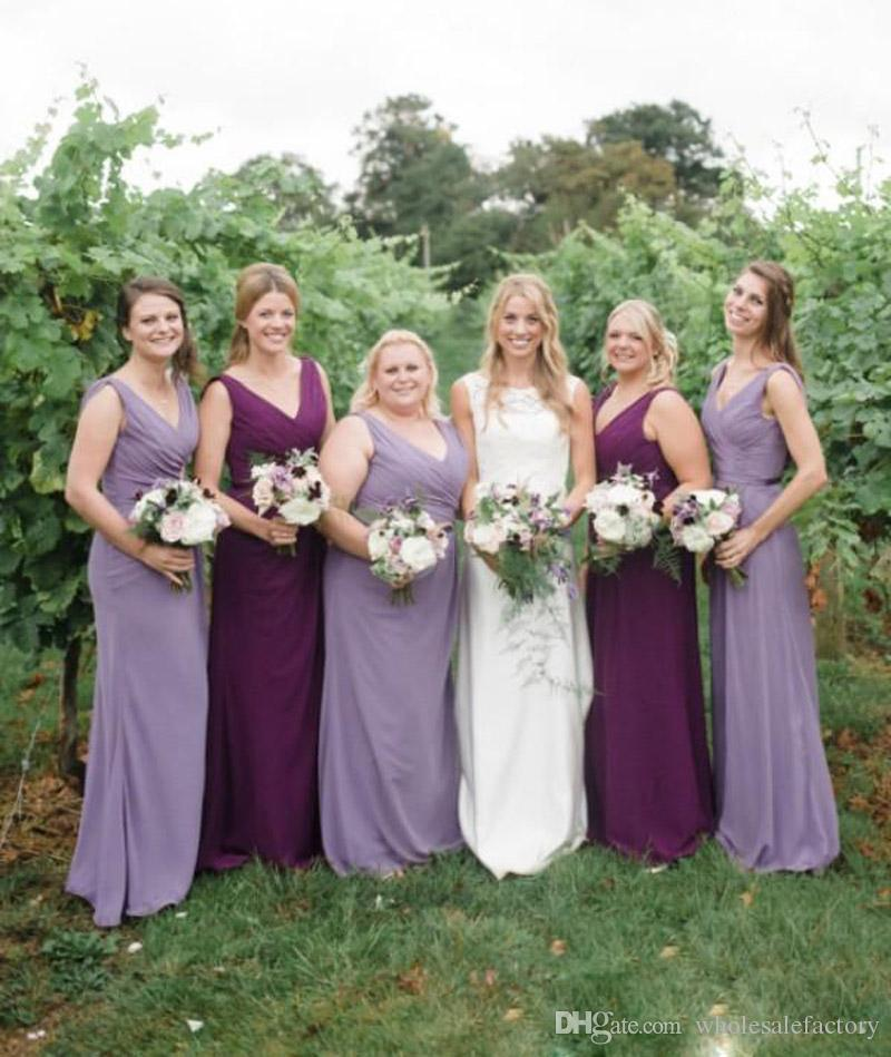 865532cbc62 Purple Long Chiffon Bridesmaid Dresses Flow Pleats A Line Country Bridesmaid  Gowns Custom Made Plus Size Maid Of Honor Gowns 2018 Bridesmaids Gowns ...