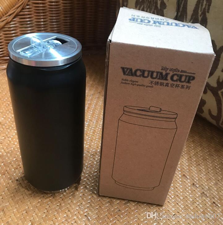 Luxus-Logo 450ML schwarz Vacuum Cup Stroh Thermosflasche Auto Flasche Cups Garrafa Stroh Termica Inox Ceative Kann Kaffeetasse Idee Geschenk Flasche