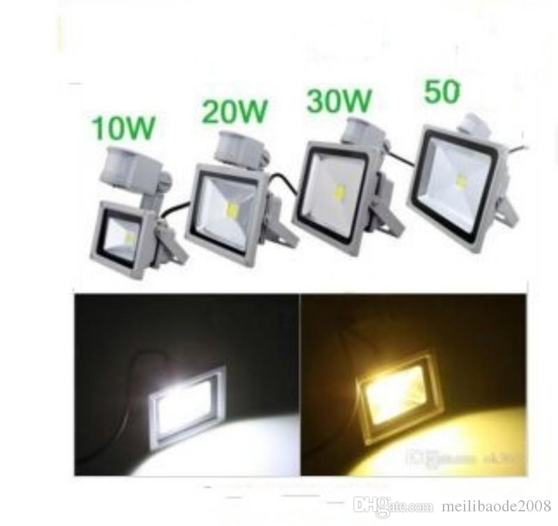 110V 220V 10W / 20W / 30W PIR LED Lumière crue Capteur de mouvement de projecteur blanc chaud A85V-265V Lampe de jardin en plein air LED Lampe de lavage MYY