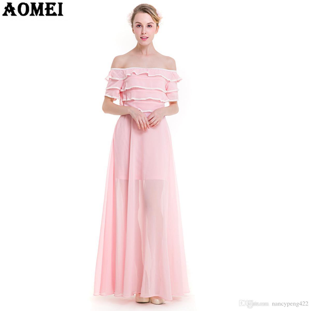 Compre Vestido De Mujer De Moda Boho Maxi Color Rosa Color Azul ...