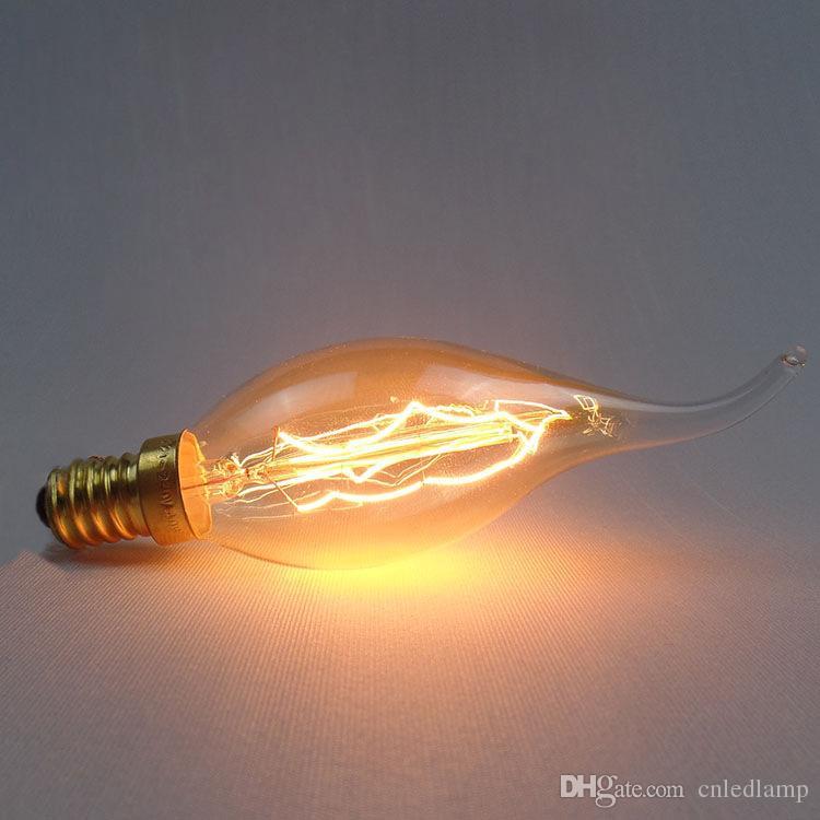 40 Вт Carbon Art античный стиль лампочки вольфрама Винтаж Эдисон лампа C35 теплый белый E14 110 В 220 В галогенные лампы освещения