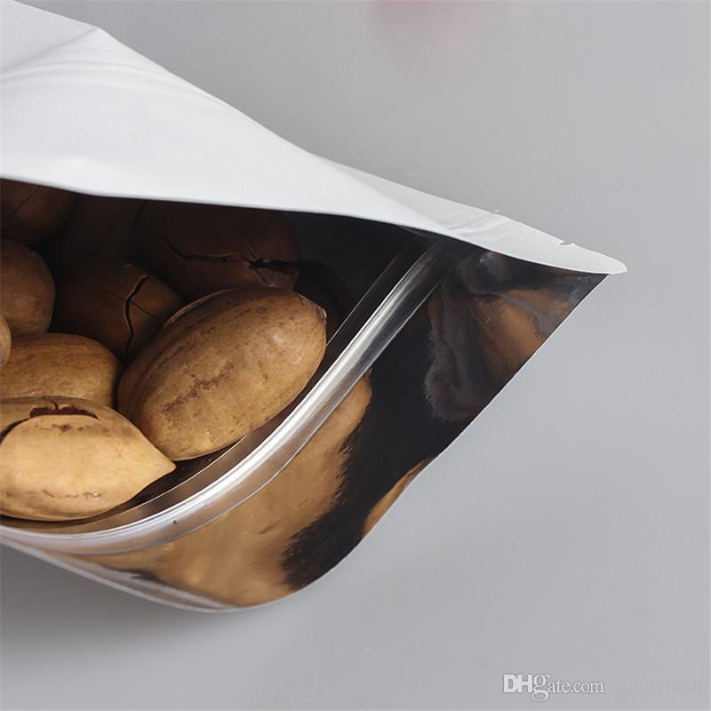 Stand Up White Kraft Paper Aluminum Foil Bag Zipper Doy pack Packaging Pouch Food Tea Snack Resealable Bags wholesale LZ0504