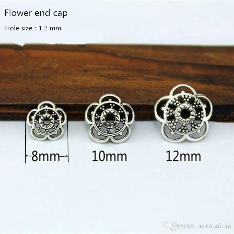 Tibetan Silver Big Hole Spacer Beads Fit Pandora DIY Jewelry Loose Beads Flower End Caps For Bracelet&Necklace 1.2mm Hole Findings