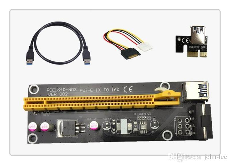 الجملة PCIe PCI-E PCI Express Riser Card 1x to 16x USB 3.0 Cable SATA to 4Pin IDE Molex Power Supply for BTC Miner Machine