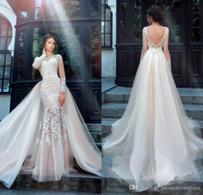 chic tulle bridal gown exquisite embroidery 2017 o neck 2 in 1