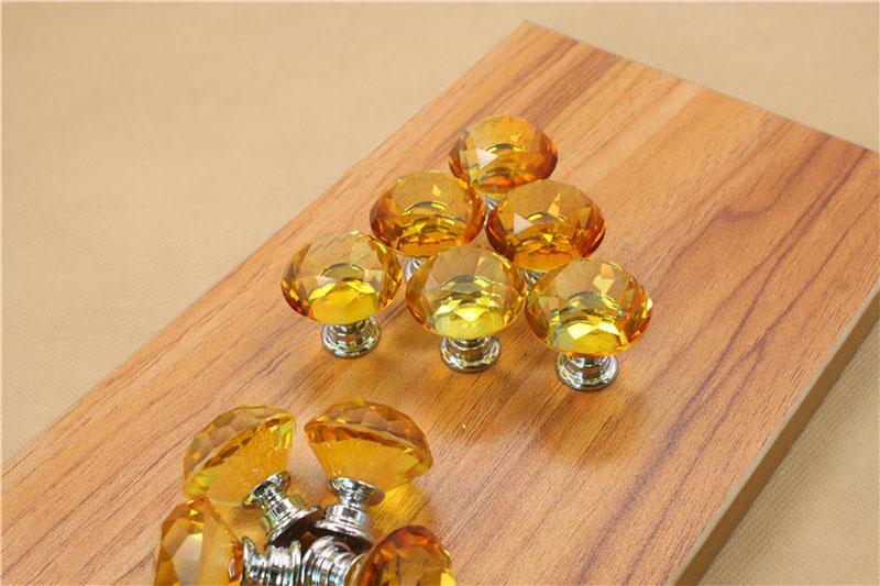 30MM Diamond Shape Design Crystal Glass Knobs Cupboard Drawer Pull Kitchen Cabinet Door Wardrobe Handles Hardware