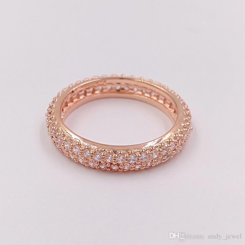 d9a834233883 Anillo de plata esterlina 925 chapado en oro rosa Inspiración en el anillo  Anillo Pandora de joyería de estilo europeo regalo regalo 180909CZ