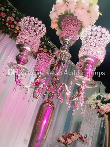 new style Lovely candle stick holder centerpieces glass crystal candle holder for home decor
