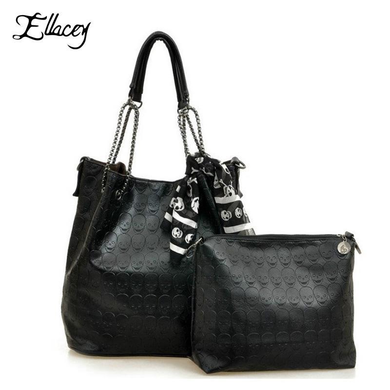 Wholesale 2016 Vintage Designs Skull Bag Pu Leather With Silk Scarf  Shoulder Female Bags Women Black Skull Handbags Ladies Casual Tote Bag  Crossbody Bags ... 1c6172da196cf