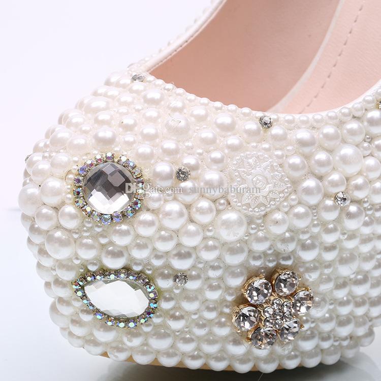 Wholesale Colorful Gem Cinderella Shoes Prom Evening High Heels Beading Rhinestones Bridal Bridesmaid Hand-made Wedding Shoes