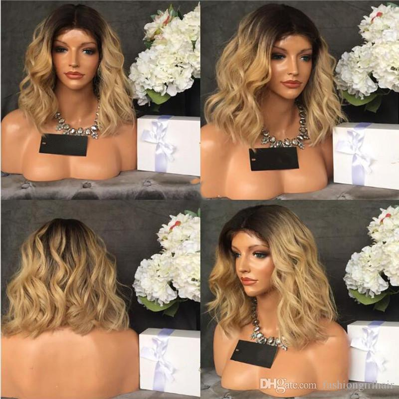 Fashion wavy Black Ombre blonde Bob Synthetic Lace Front Wig Heat Resistant ombre blonde Wig short lace front wig with baby hair