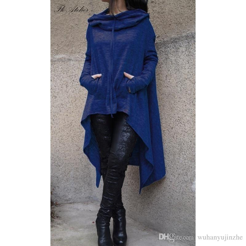 Unregelmäßige Langarm Hoodies Jacken Frauen Mode Solide Lässig Mantel Herbst Blusen Sweatshirts Pullover Outwear Jumper Frauen Kleidung CL049